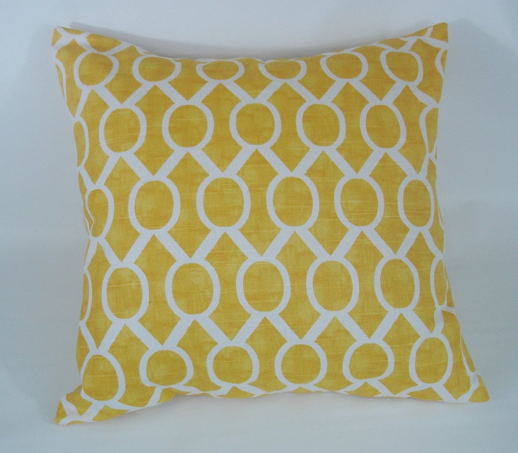 Decorative Pillow Cover 22 x 22 Yellow Throw by ThePillowCo