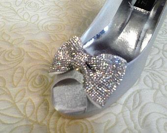 Handmade 1 pair rhinestone bows shoe clips,or hair bows,bridal shoe clips,women shoe clips
