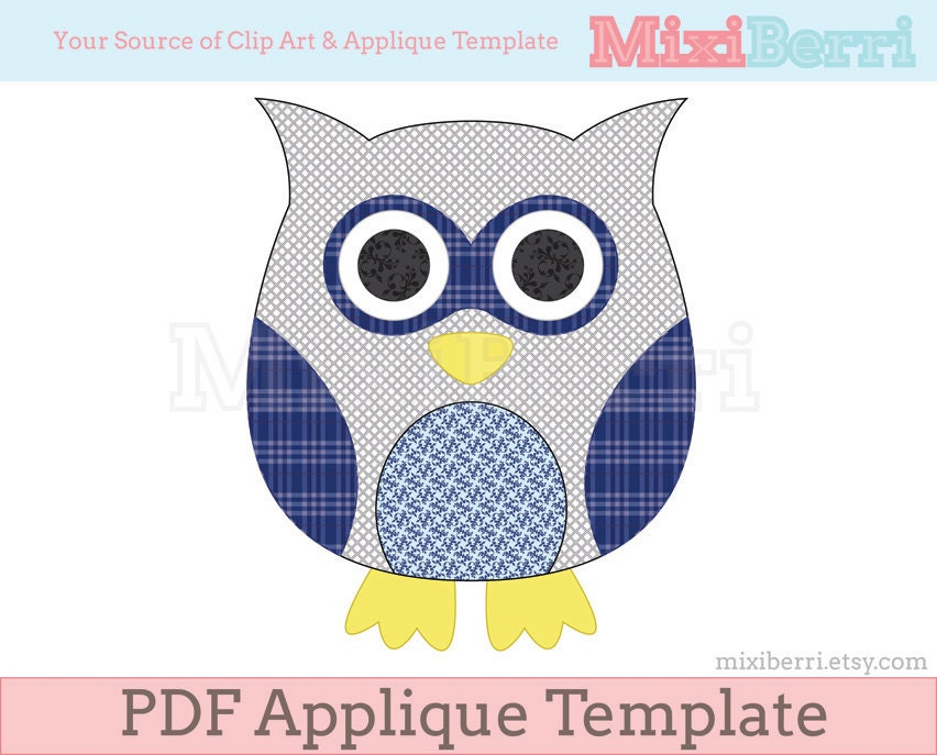 Blue Owl Applique Template Pdf Applique Pattern Instant