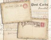Digital collage sheet Greeting cards Vintage post cards Printable instant download Best for paper craft, scrapbook - OLD POST CARDS