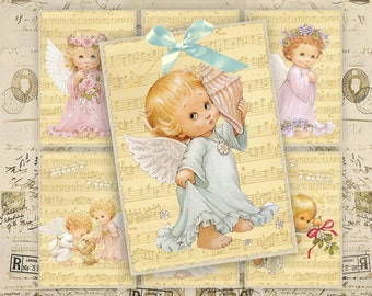 Greeting Cards - Gift Tags - Digital Collage Sheet - Instant Download - Printable Cards - Vintage Angels - SWEET LITTLE ANGELS
