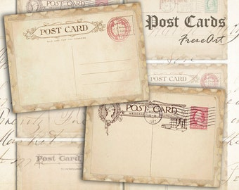 Digital collage sheet Greeting cards Vintage post cards Printable instant download Best for paper craft, scrapbook - OLD POST CARDS