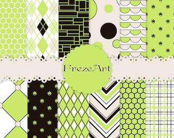 Digital Paper Pack - Instant Download - 12x12 - chevrons, dots, stripes - GREEN IMAGINATION