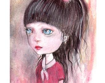 original painting..mixed media on fine art paper paper,miniature girl