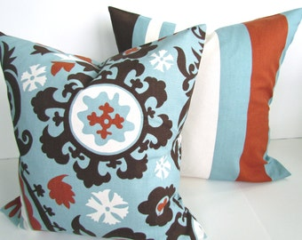 PILLOWS Set of 2 Blue Throw Pillow Covers Spa Blue Decorative Pillows 16 18x18 20 .All Sizes. Copper Striped Brown pillow Covers .Sale.