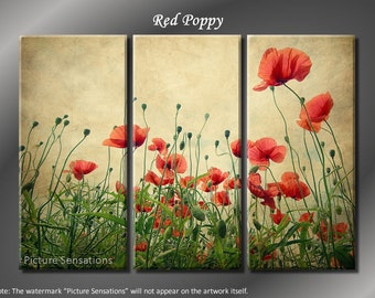 Framed Huge 3 Panel Flower Floral Red Poppy Giclee Canvas Print - Ready to Hang