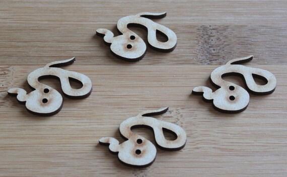 6 Craft Wood Snake buttons, 3.7 cm Wide, Laser Cut