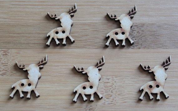 6 Craft Wood Reindeer buttons, large , 2.4 cm Wide, Laser Cut