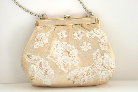 Shimmery Gold purse with Lace and Glass Beads - Handsewn beads, sequins, and lace - Upcycled Vintage Purse - Evening Bag