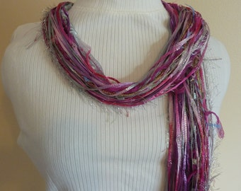 Multicolored Bright Pink Scarf of Specialty Yarns - Pink and Purple Ribbon, Silver FEATHER & Ladder Yarns - Scarves