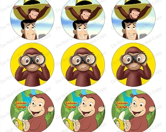 INSTANT digital Download Curious George 1-inch Round Bottle Cap Images 4 x 6 in Digital Sheet, 1 inch circles, rounds, 1 inch digital images