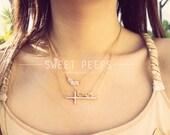 Dainty Gold Rhinestone Cross Dainty Necklace