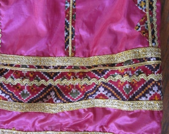 Pink Silk Belly Dance Skirt with Bold Painted Print and Gold Rickrack