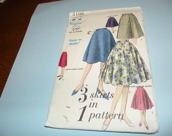 Early 1960s Vogue 5106 3 Skirts in One Pattern size 26 Waist 36 Hip