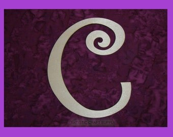 unfinished wood letter C wood letter 6 inch tall Curlz Font