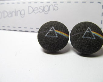 Pink Floyd Dark Side of the Moon Fabric Button Earrings