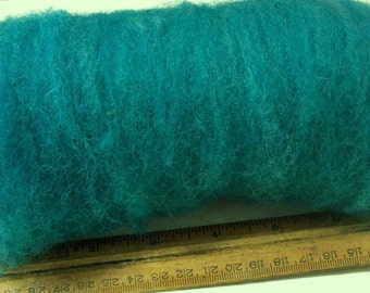 Teal blue Carded Sheep WOOL ROVING,needle felting, spinning batt