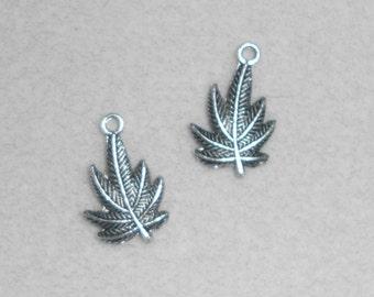 Silver Cannabis Charms