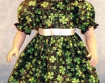 4 Leaf Clover on Black Dress made to fit 23 inch dolls