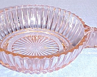 Queen Mary Pink Depression Glass Bowl, 4 inch, handled