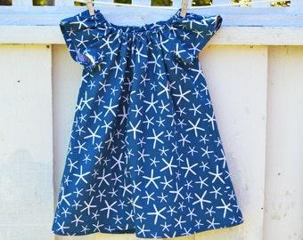 Toddler Dress in Blue and White Starfish Summer Dress Beach Dress Flutter Sleeves Little Girl Dress
