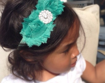 Dark Mint Green Easter Color Chiffon Flower Headband, Girl Headband, Baby Girl Headband, Infant Girl Headband, Newborn Girl Headband