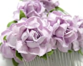 Lilac Light Purple Floral Bridal Clip Set of Two Rose Hair Combs Flower Accessory