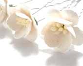 Cherry Blossom White Set of Four Cream Ivory Hair Pins Wedding Accessory