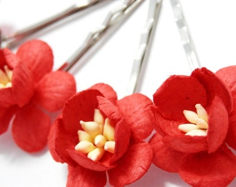 Red Cherry Blossom Hair Clips, Flower Clips, Wedding Flower Pins, Bridal hair pins, Bobby Pin Flowers, Floral Hair Bobbies