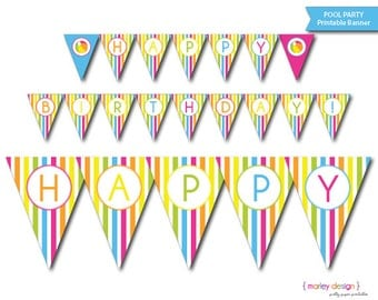 Pool Party Banner Printable Happy Birthday Splish Splash Summer Beach Ball Instant Download