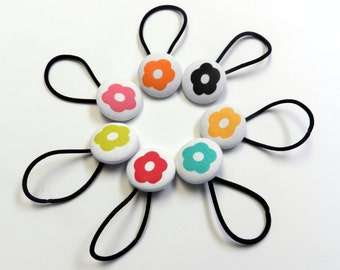 Hair bow Girls buttons hair tie Ready to ship Flower Button Ponytail Holder, flower hair tie, flower hair bow toddler to adult