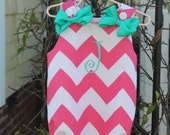 Riley Blake Pink Chevron Bubble Romper with FREE one letter monogram and bows.