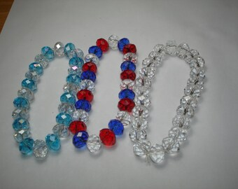 Three Beaded Faceted Stretch Rhinestone Bracelets