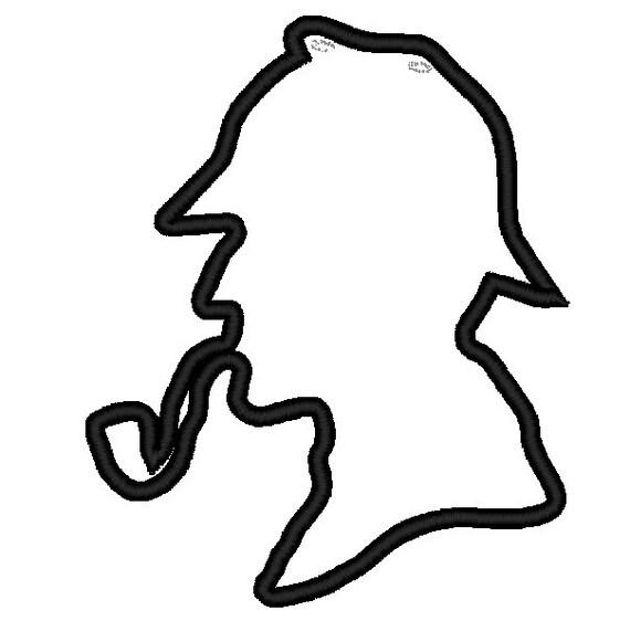 Sherlock Holmes Silhouette Applique Head. Instant by ...