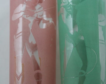 Pair of Vintage Glasses with Pink & Green Cowboy Cowgirl
