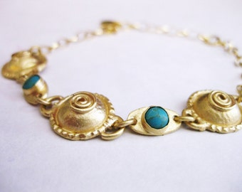 Gold turquoise bracelet ,roman style, handmade,bride bracelet , israel jewelry , gold platted , vermill