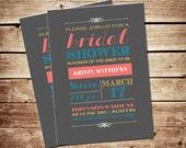 Printable Typography Bridal Shower Invitations - Vintage, Rustic