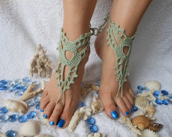 Crochet Barefoot Sandals Beach Wedding  Yoga Shoes Foot Jewelry Green Mint