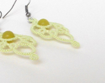Pale green lace earrings, tatted, dangle