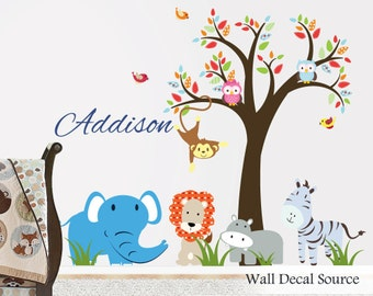Nursery Tree Decal - Large Monogram Decal - Nursery Animal Decals