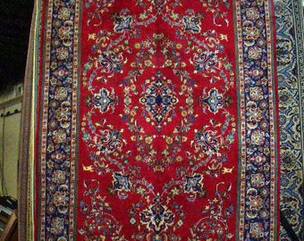 1970s Vintage Hand-Knotted Najafabad Persian Rug (1226)