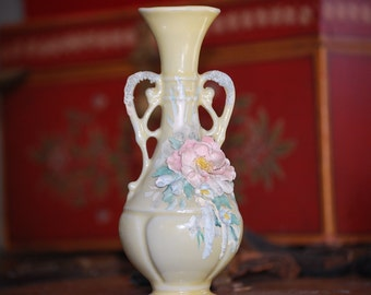 Vintage Small Yellow Porcelain Bud Vase with Relief Applied Hand Painted Flowers