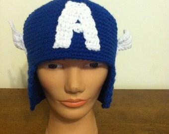 Captain America beanie, cap, hat, blue Marvel hat