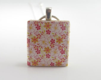 Scrabble Pendant - Cute flowers - Scrabble Tile Pendant Charm Necklace mounted on Sterling Silver 925 bail and chain