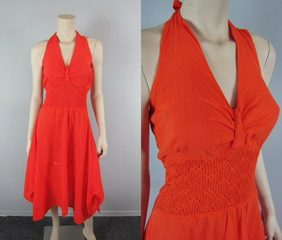 Vintage Mexican Gauze Dress Crochet Handkerchief Zig Zag Hem Halter Hippie Boho Dress