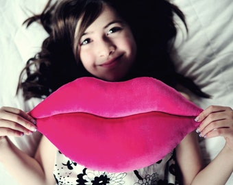 Valentine's Gift - Hot Pink Velvet Smooch Lips Decorative Pillow - Mini Size