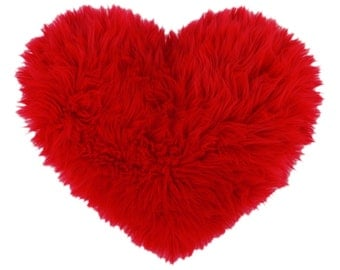 Red Faux Fur Heart Shaped Decorative Valentine Pillow Valentine's Day Gift - Small Size