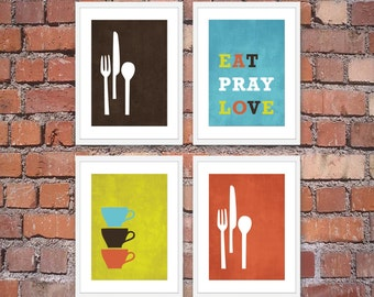 Modern Kitchen Wall Art Print Set - Inspirational Eat Pray Love - (4) 5 x 7 Prints Brown Blue Lime Orange-Unframed
