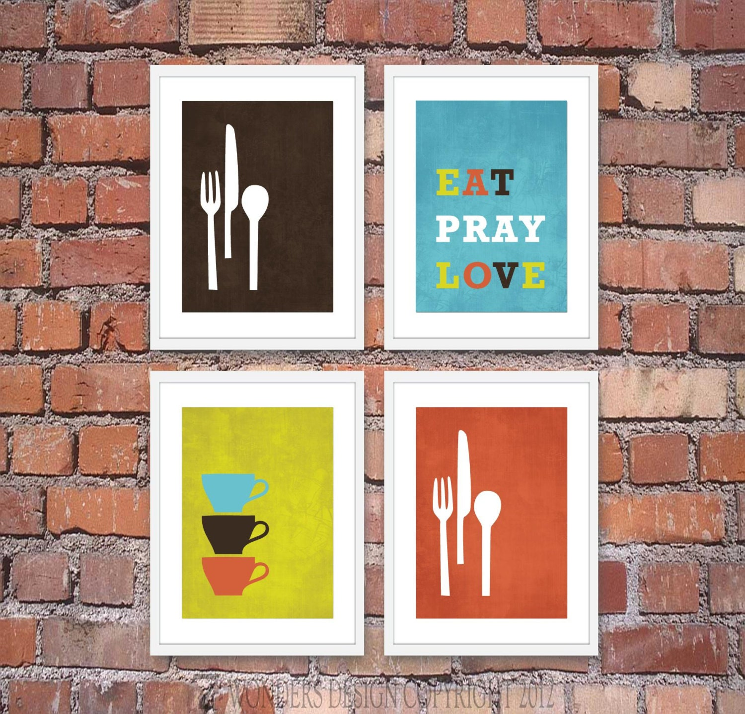 Modern kitchen wall art print set inspirational by for Modern kitchen wall decor