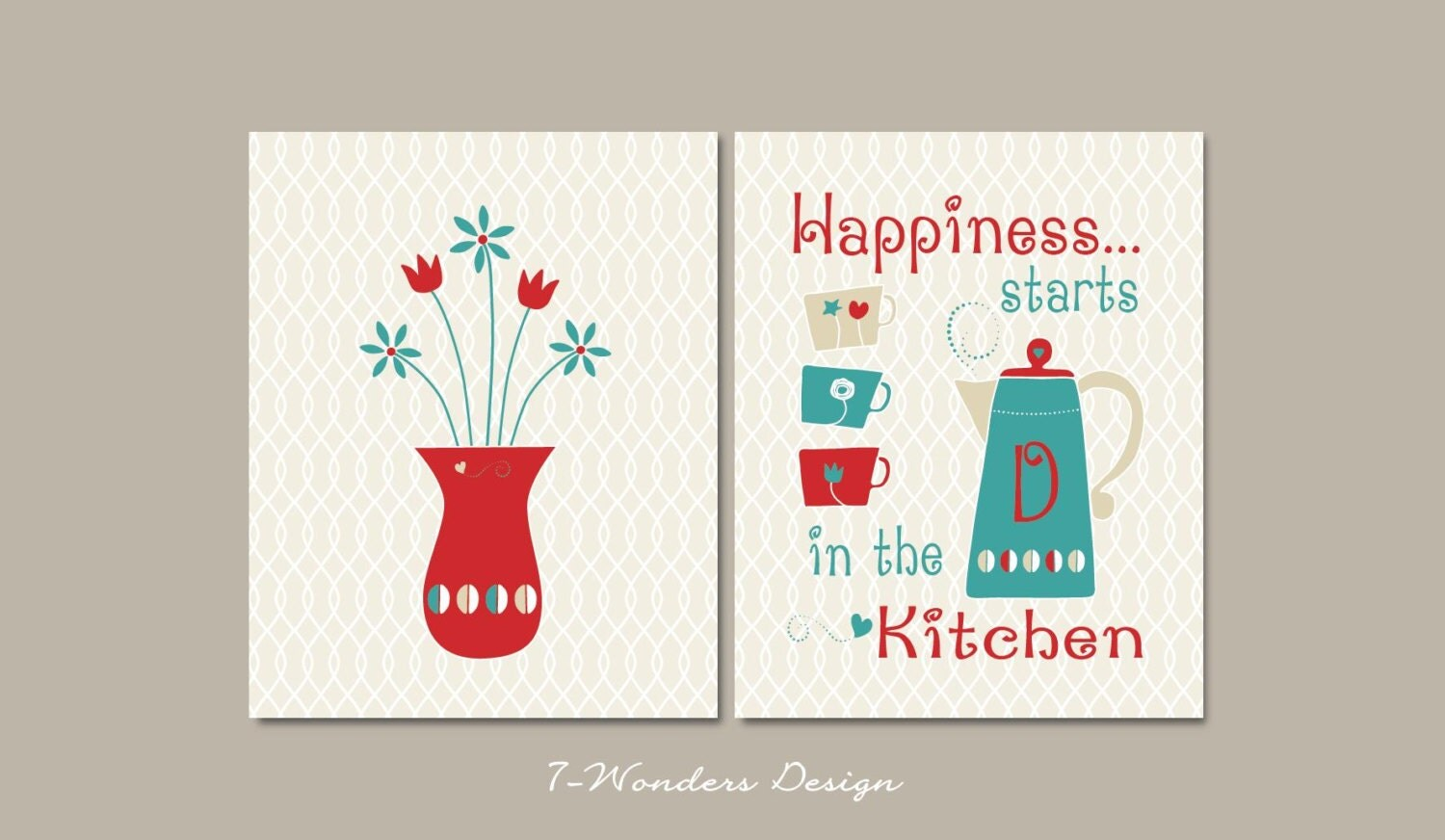 Happy kitchen art prints personalized modern wall art set for Art prints for kitchen wall